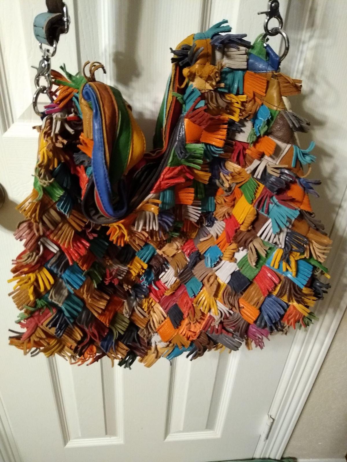 Multicolored Leather Fringe Boho Bag