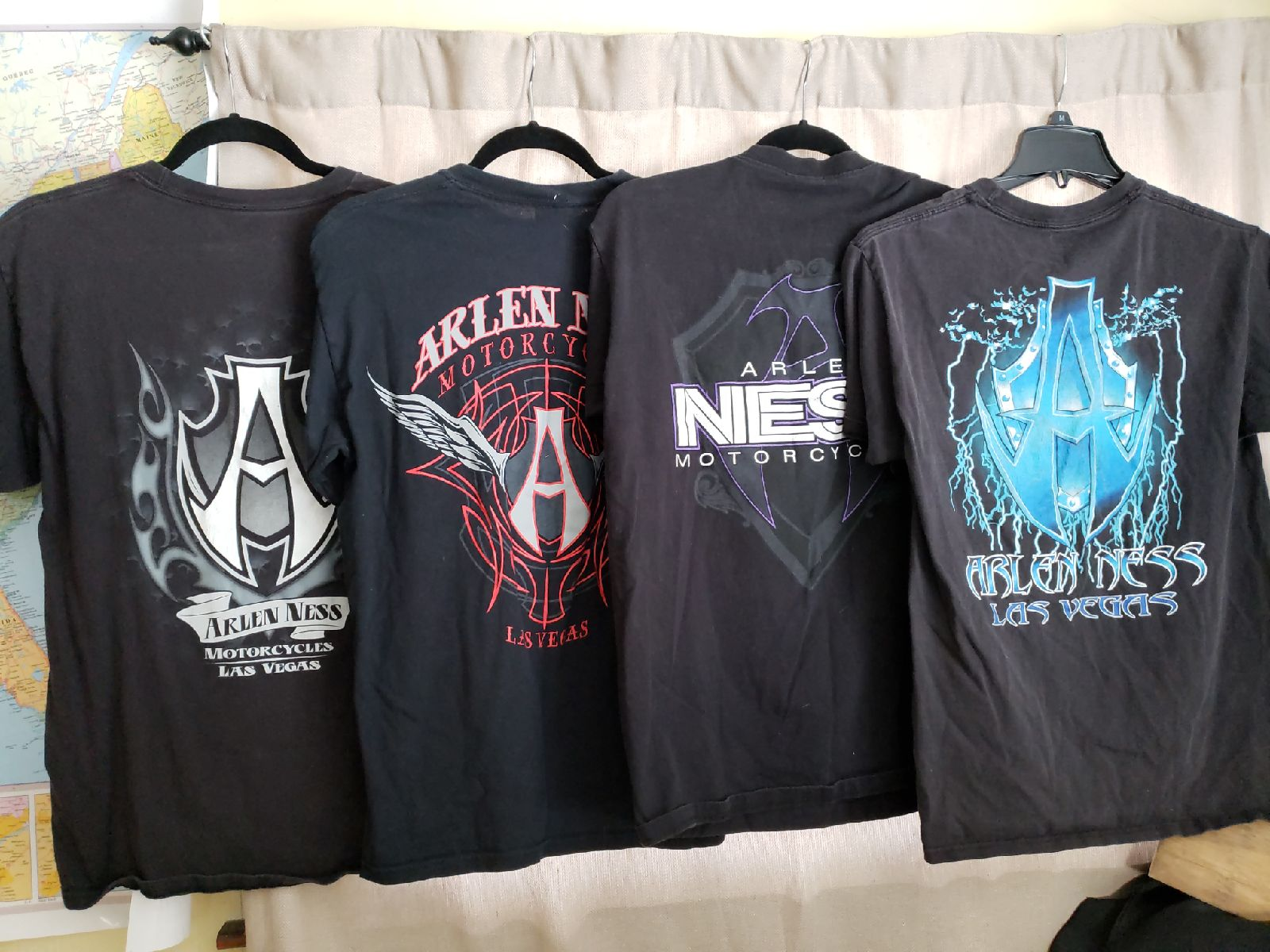 Lot Of 4 Arlen Ness Motorcycle T Shirts