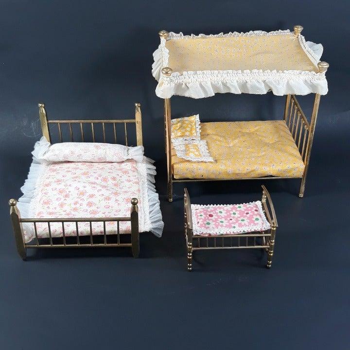 VTG Brass Beds Doll House Furniture Lot
