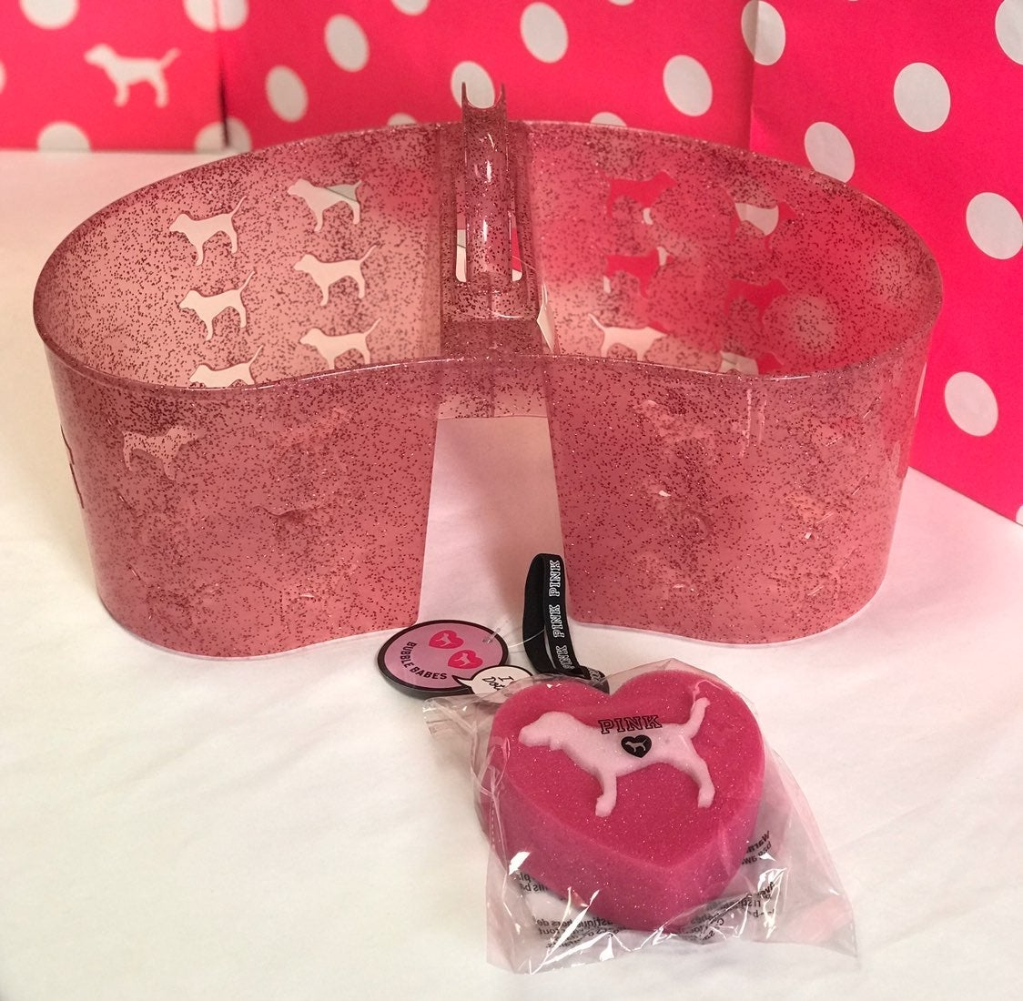 PINK Glitter Shower Caddy & Sponge