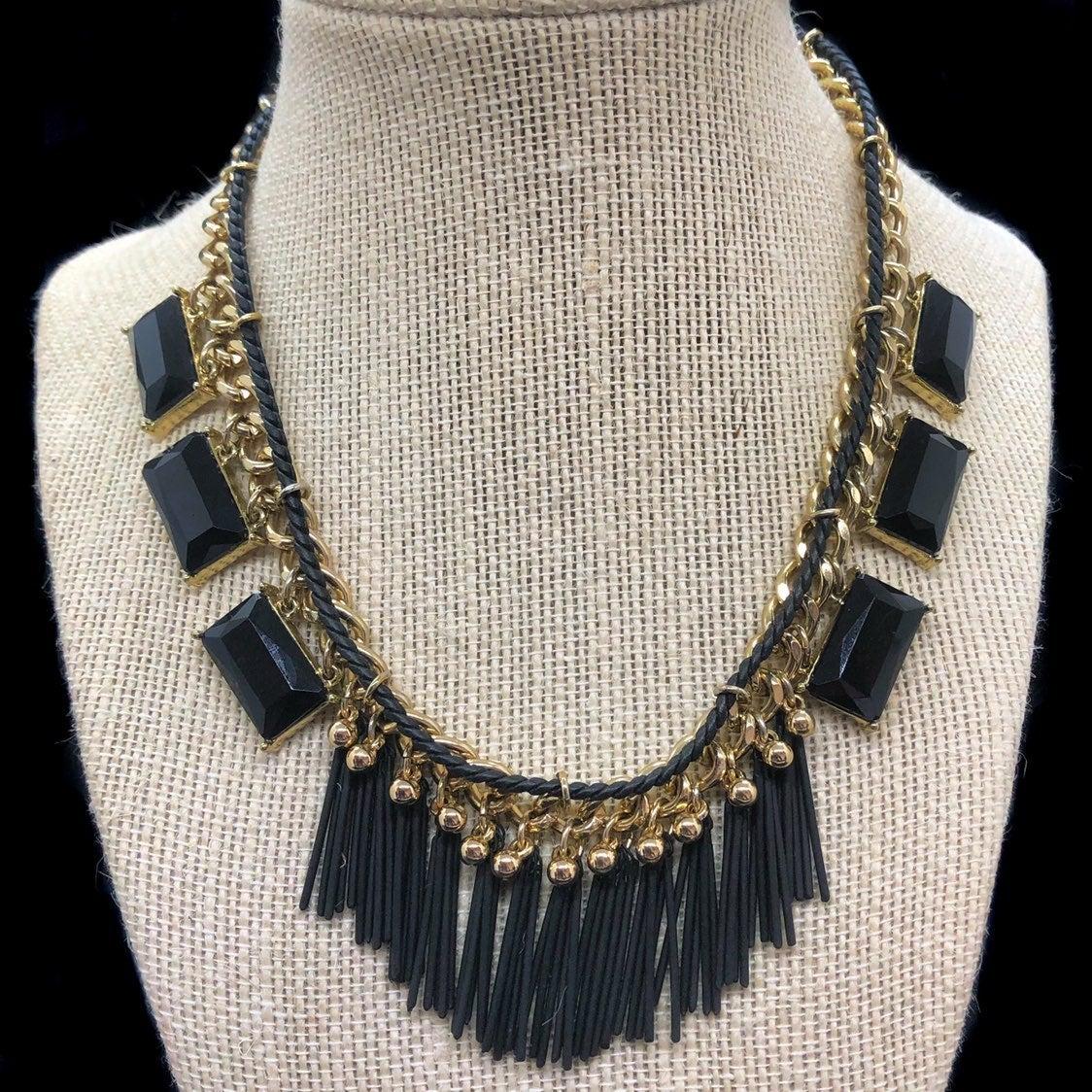 Kensie Black Fringes Statement Necklace