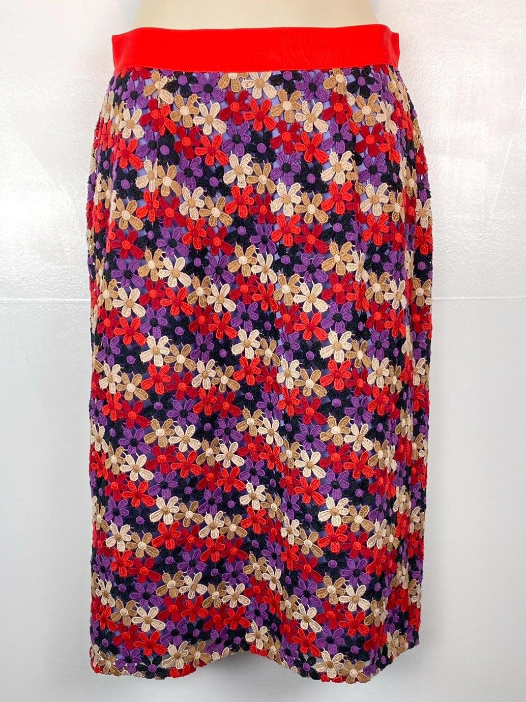 kate spade floral lace pencil skirt sz 2