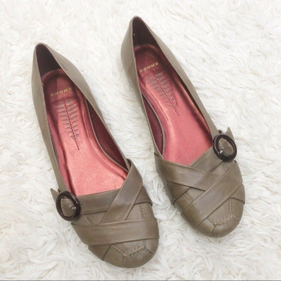 Bronx leather rounded flats shoes 10