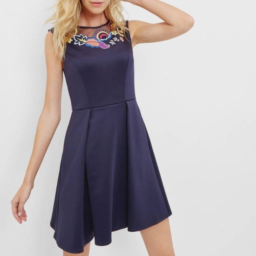 Ted Baker Lavensa Navy Embroidered Dress