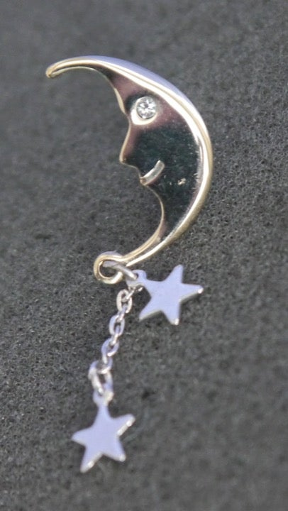 Avon Crescent Moon Face, Star Charms Pin