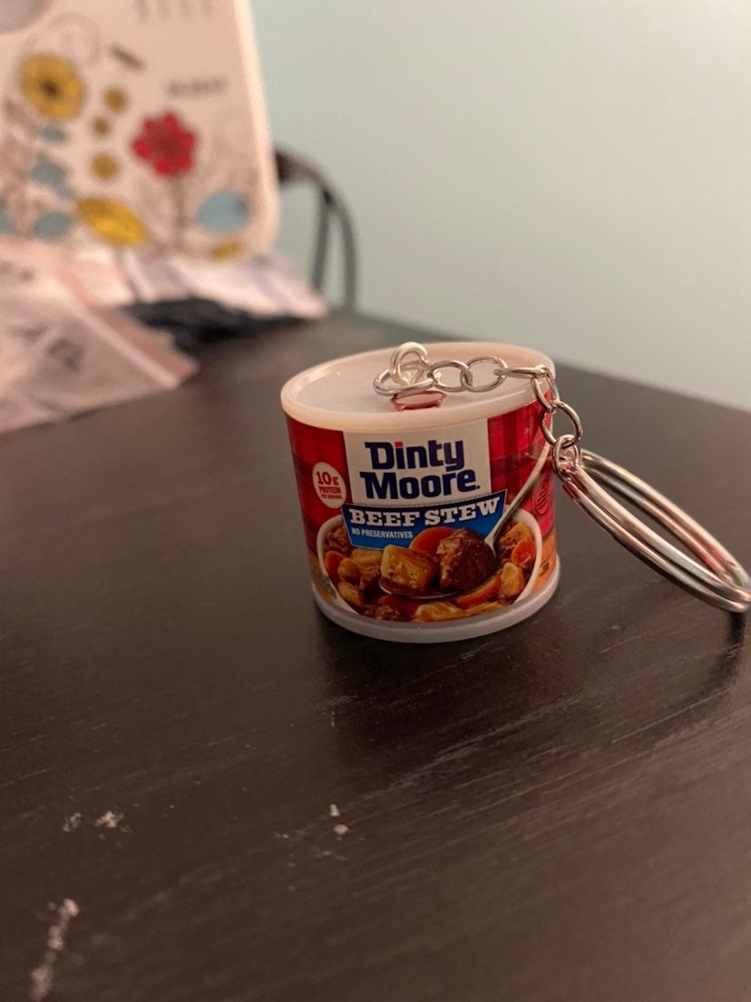 Dinty Moore beef stew keychain