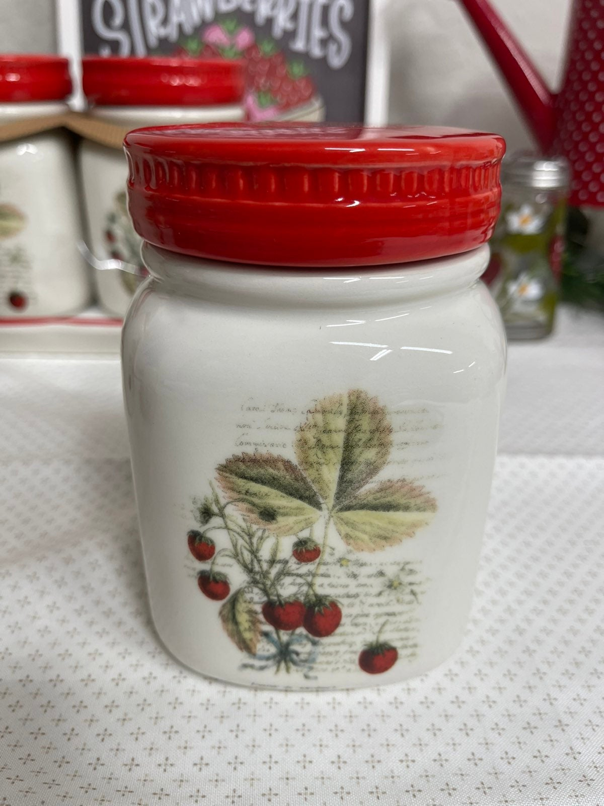Small Decorative Strawberry Canister