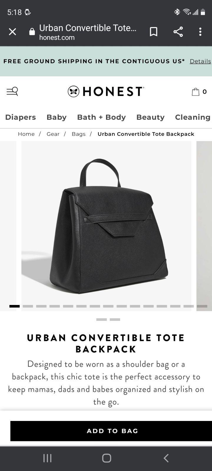Honest urban convertible tote backpack