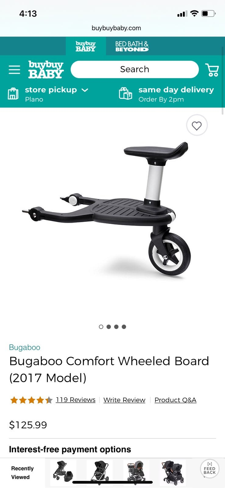 Bugaboo ride on seat