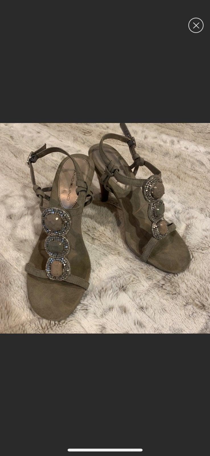 Grey mosaic beaded heels