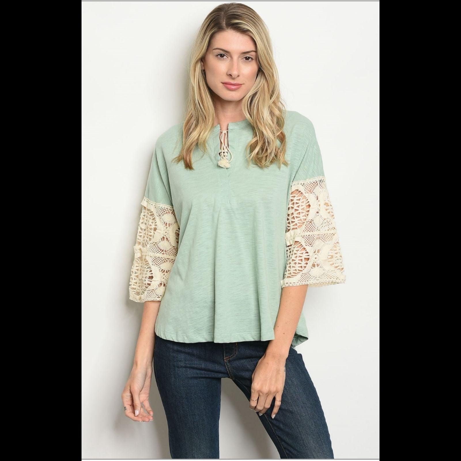 Sage Crochet Sleeve Gypsy Boho Tunic