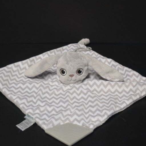 Booginhead Bunny Plush Lovey Baby Security Blanket Toy Gray White Cheveron