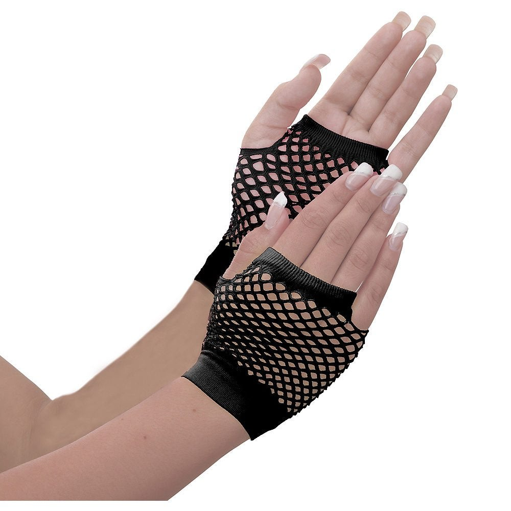 Pair of Short Black Fishnet Gloves