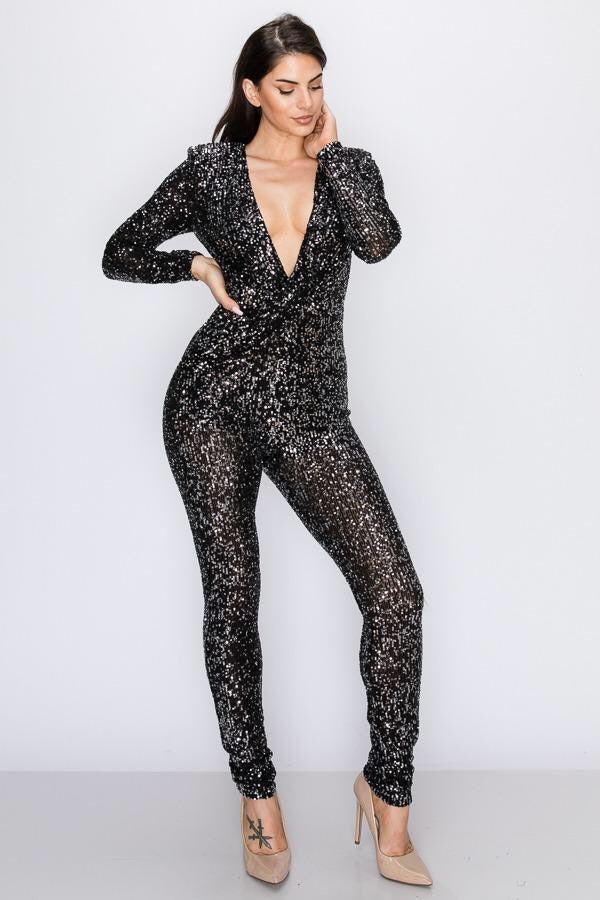 Deep V-Sequin Jumpsuit Black