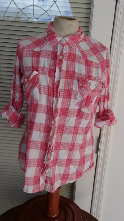 LG pink white plaid button up top YMI