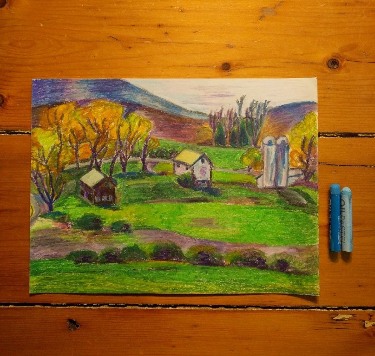 Oil Pastel Drawing of Hudson Valley