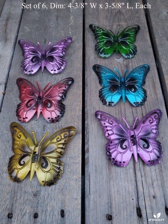 (6 Pcs) Colorful Metal Wall Butterfly
