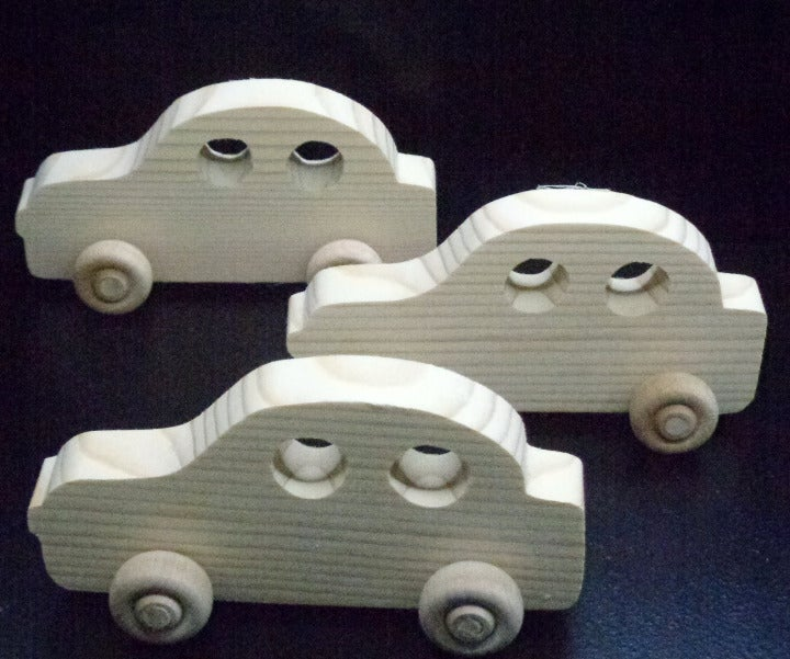 3 Handcrafted Wood Toy  Cars 371BH-U-3