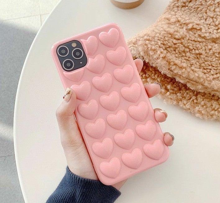 Iphone 12 Pro Max case 3D hearts