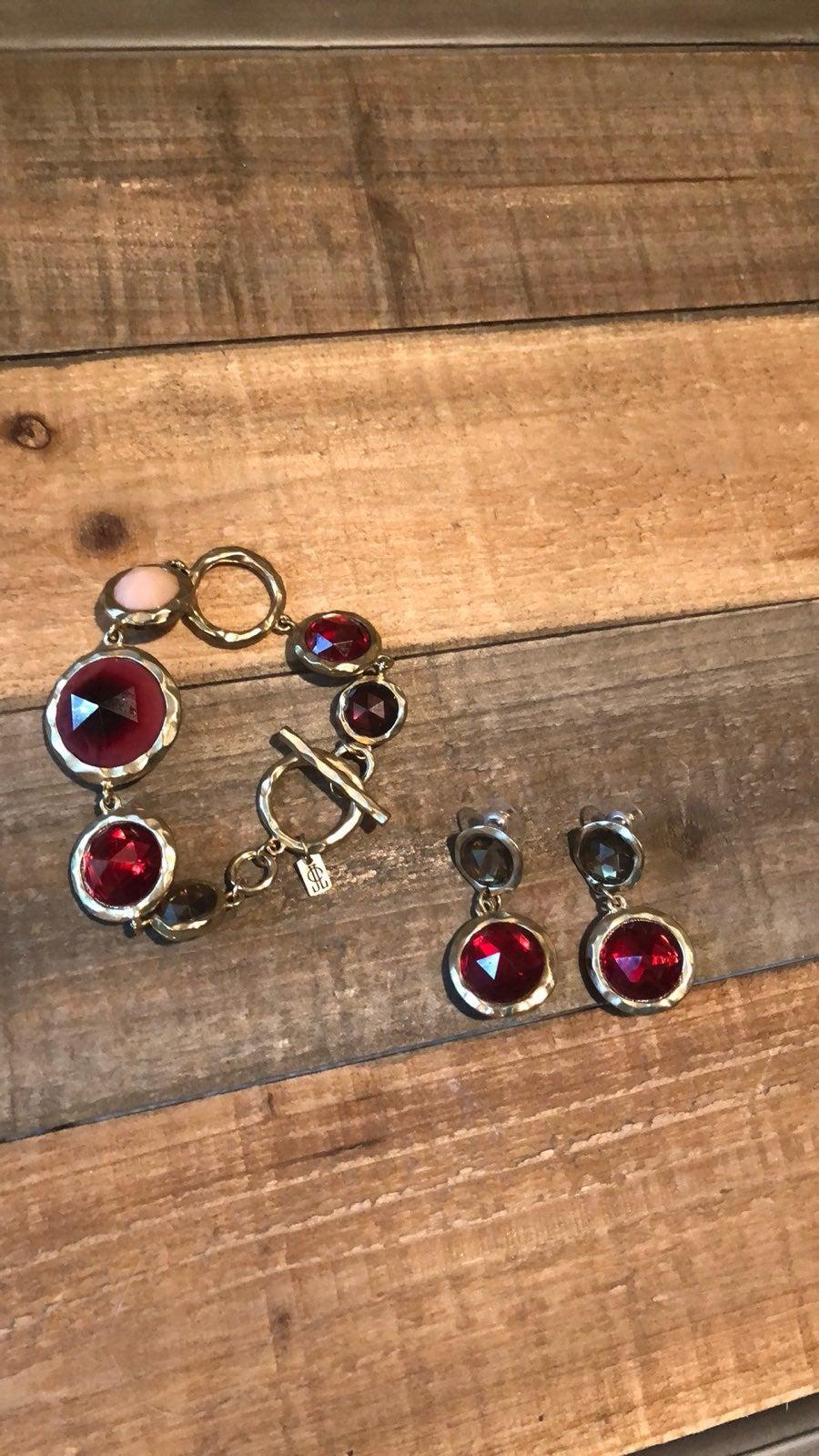 Ruby And Pink Jewel Bracelet Earring Set