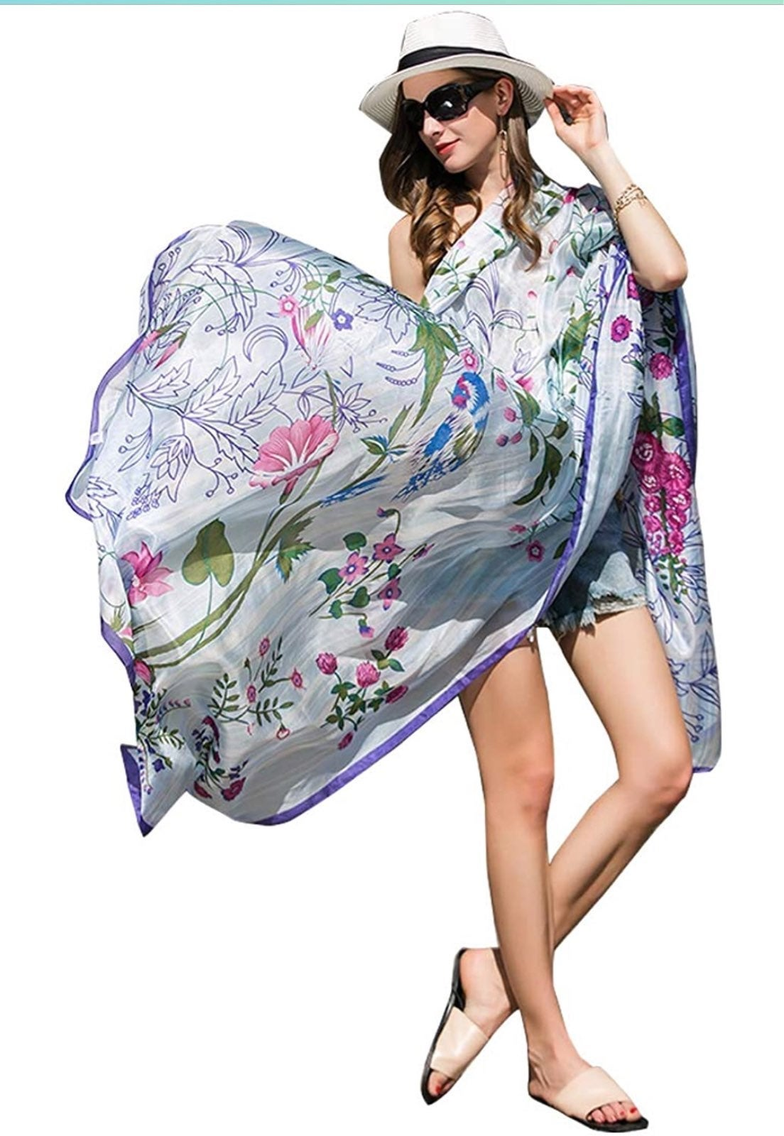 Extra Large 100% Silk Scarf-98in x43in