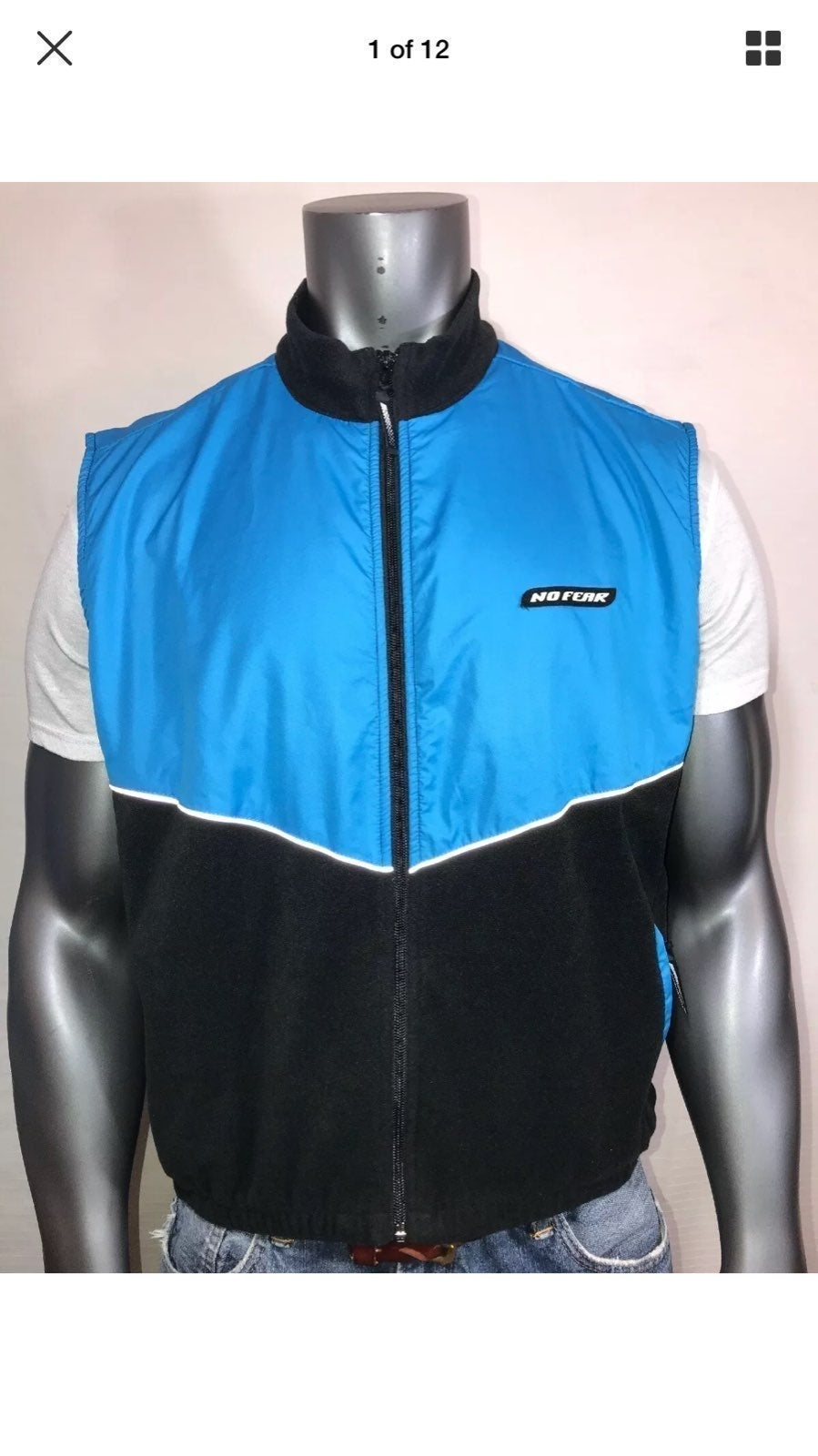 NO FEAR 90s Zip Up Fleece Vest XL