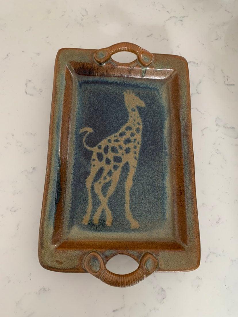 Handmade Pottery Tray with a Giraffe