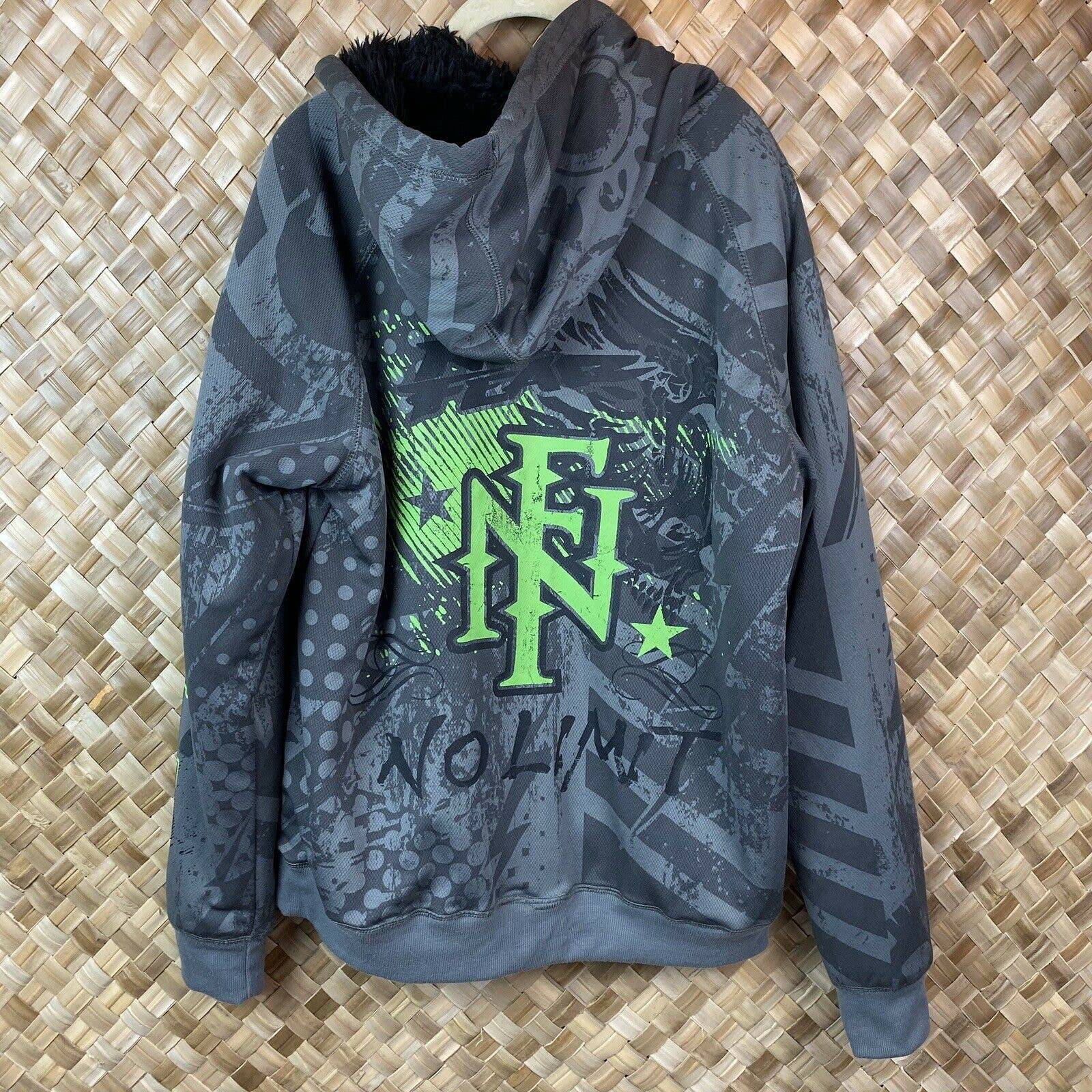 No Fear Large Gray Green Jacket Hoodie