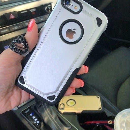 NEW iPhone 7/8 Silver Hybrid Armor Case