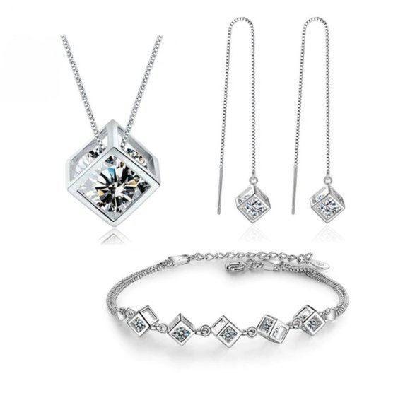 NEW [Set of 3] 925 Silver Diamond Cube