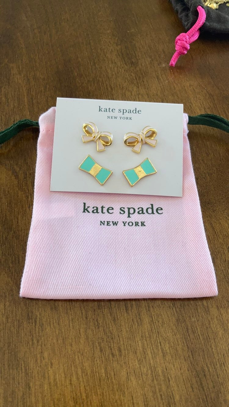 Kate Spade set of two post bow earrings
