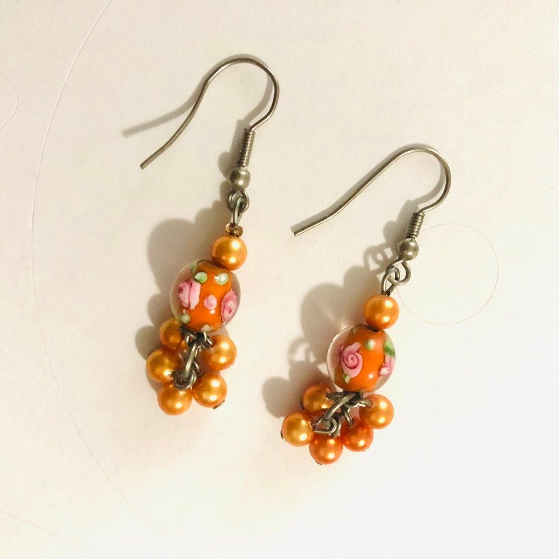 Orange drop Earrings - new