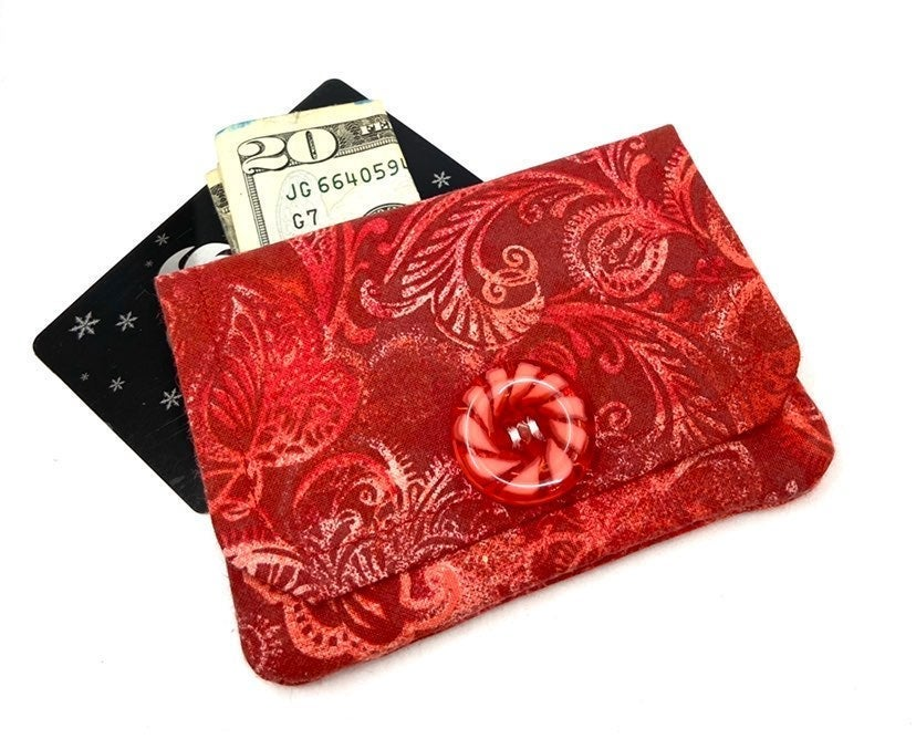 Handmade Red Floral Fabric Card Wallet
