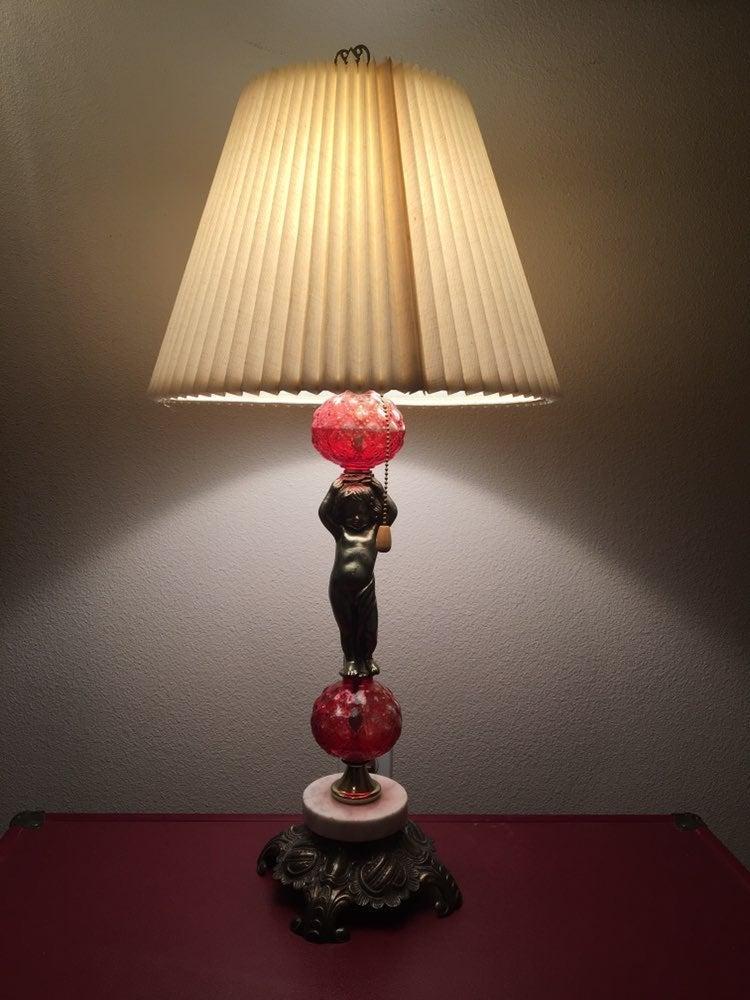 Antique Cherub Brass, Marble & Red Glass
