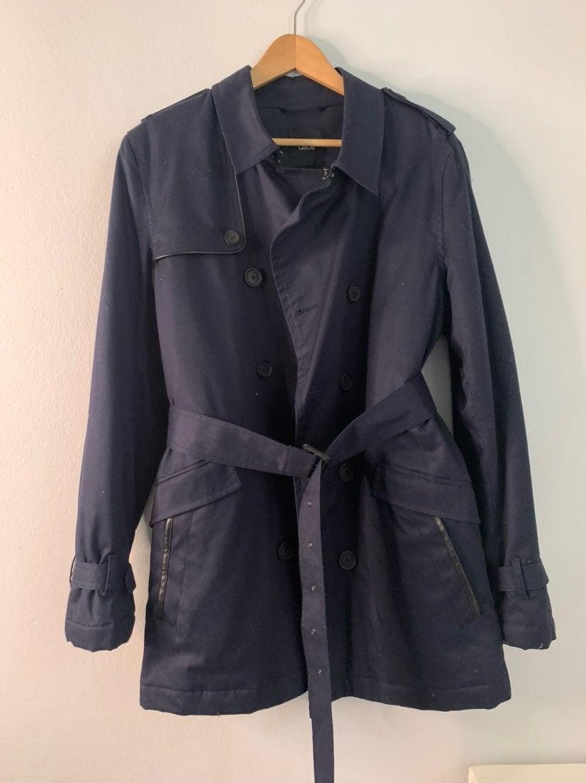 ASOS Trench Coat With Belt In Navy