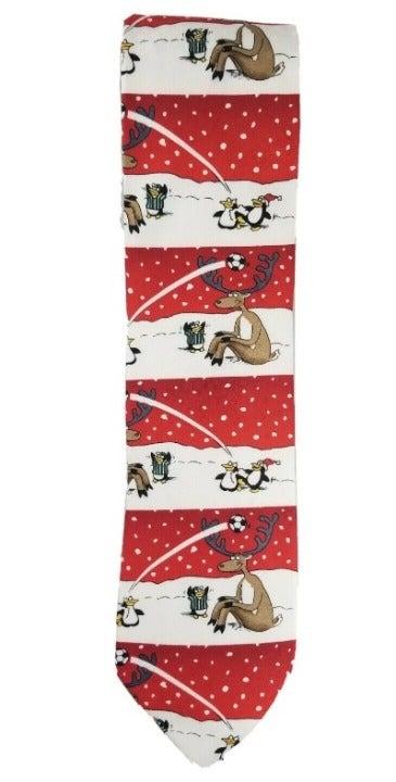 Men's Reindeer Soccer Christmas Neck Tie