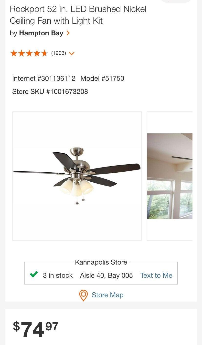 "Rockport 52"" Ceiling fan with light kit"
