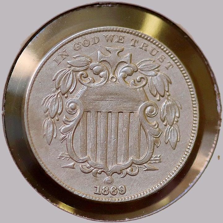 1869 Shield Nickel - AU