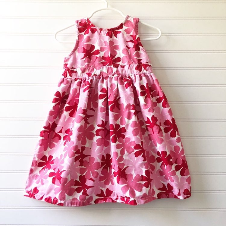 L.L. Bean Pink Floral Jumper Dress