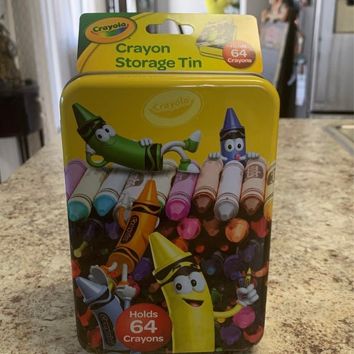 Crayon Storage Tin Holds 64 Crayons NWT
