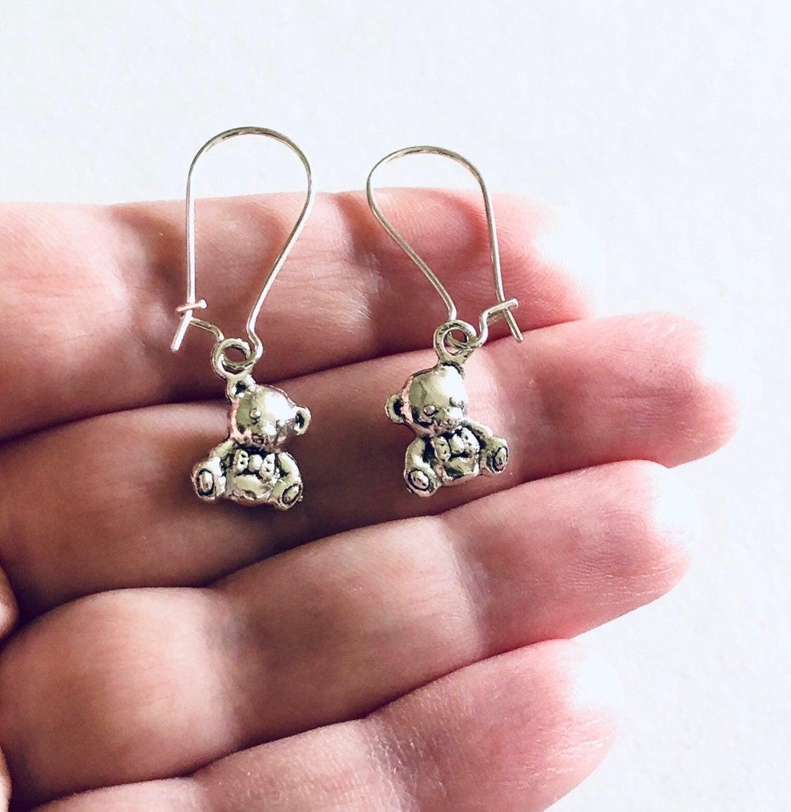 Silver Teddy Bear Drop Dangle Earrings