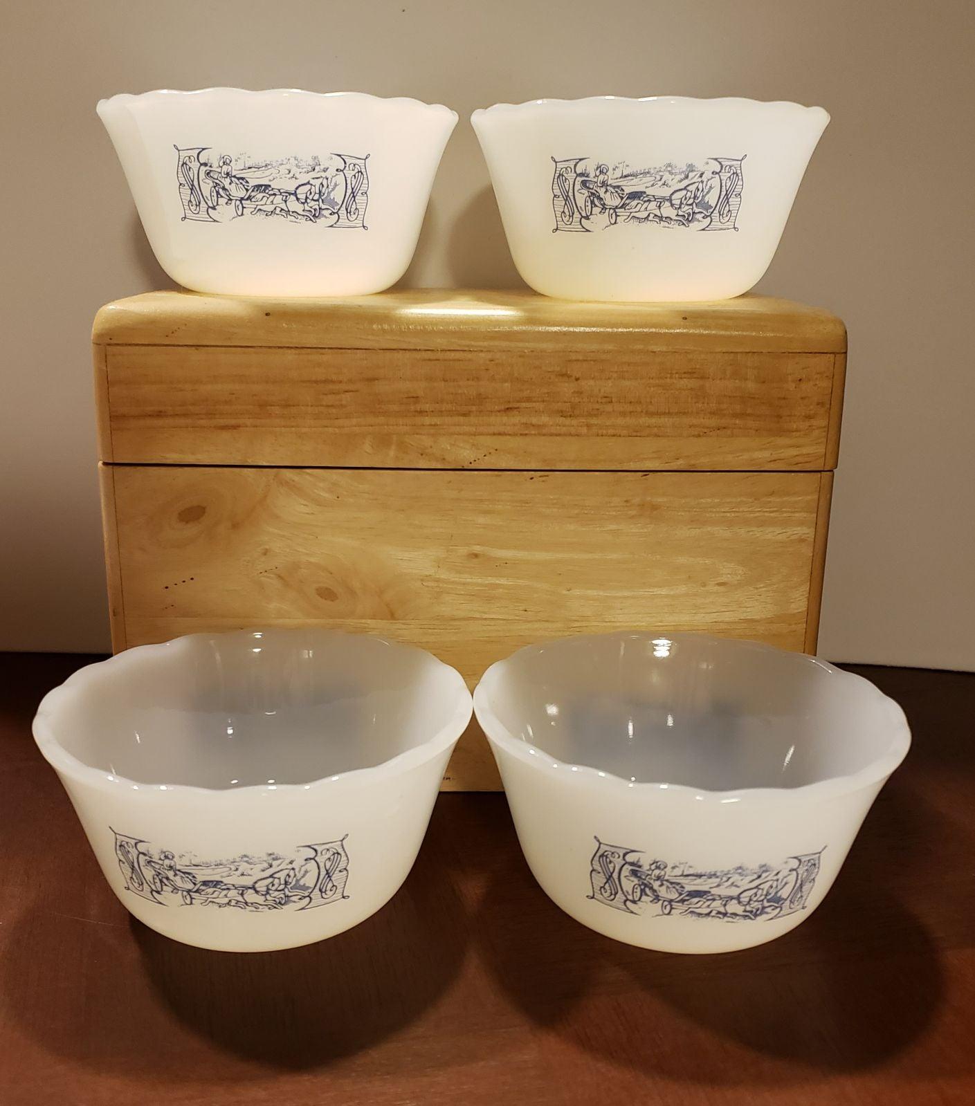 4 Currier&Ives Milk Glass Custard Cups