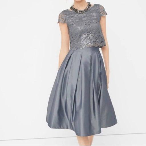 WHBM Silver Pleated Taffeta Skirt 2 NWT