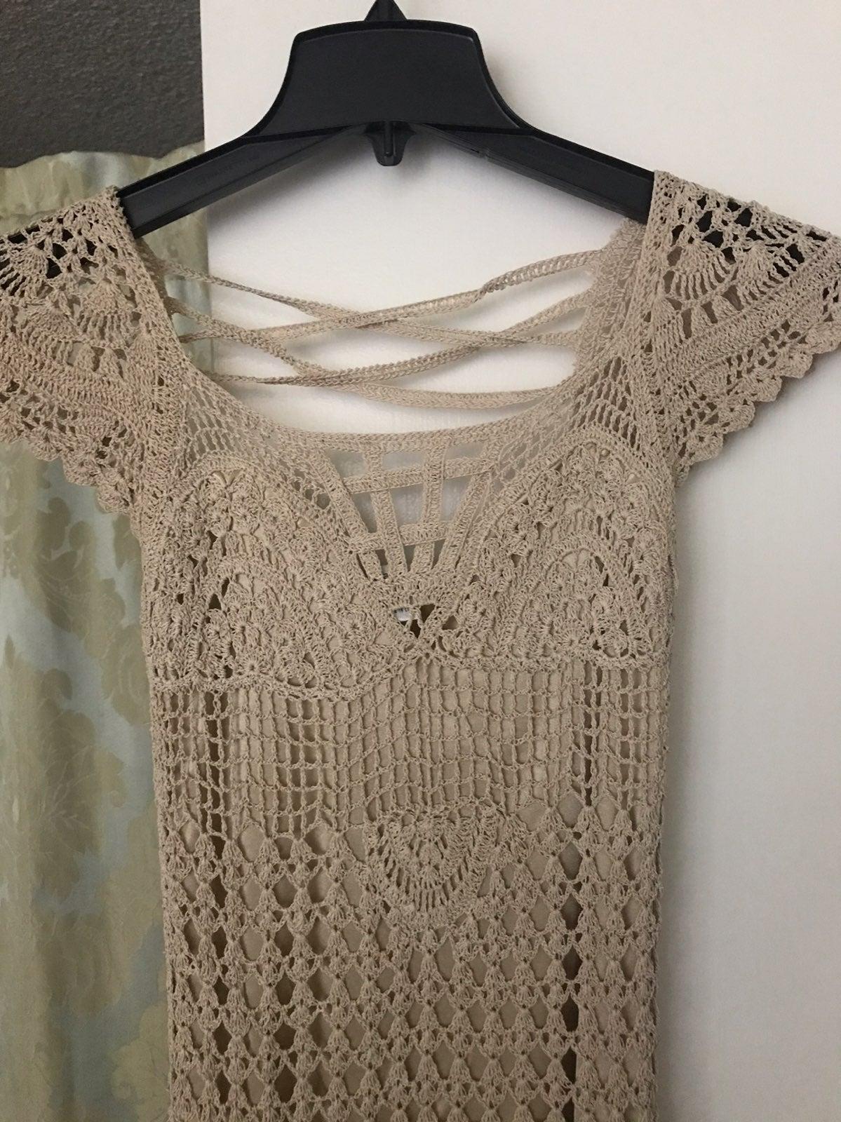 Hand knit crochet blouse