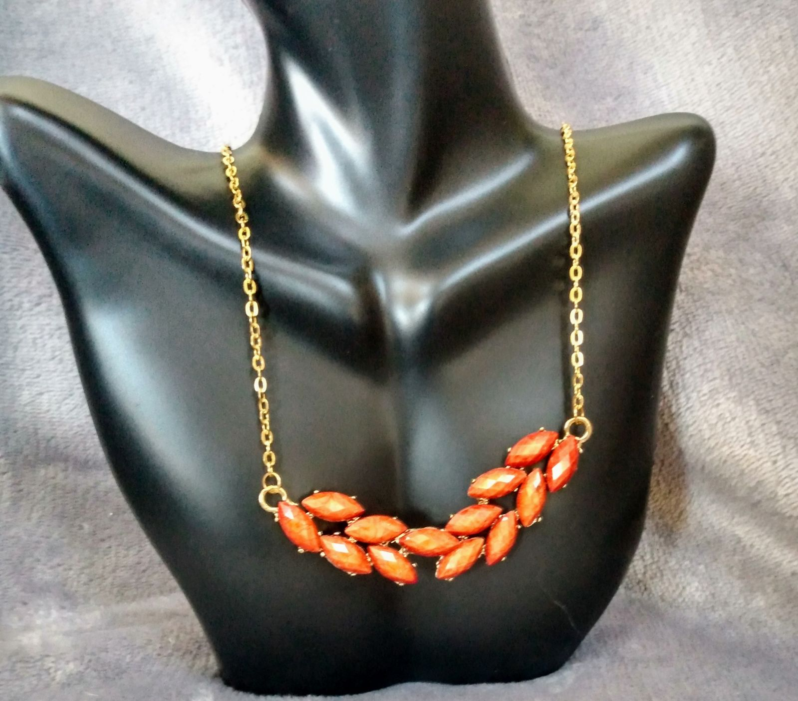 Beautiful Orange Seed Necklace with Gold