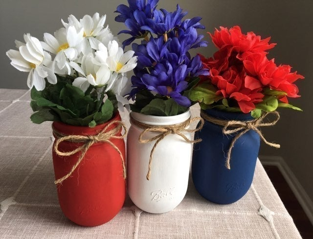 Chalk painted jars with silk flowers