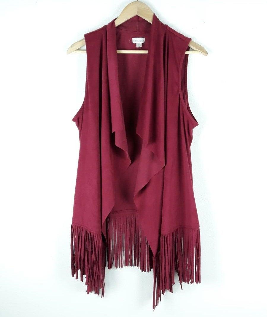 Decree womens vest Size XL suede fringe