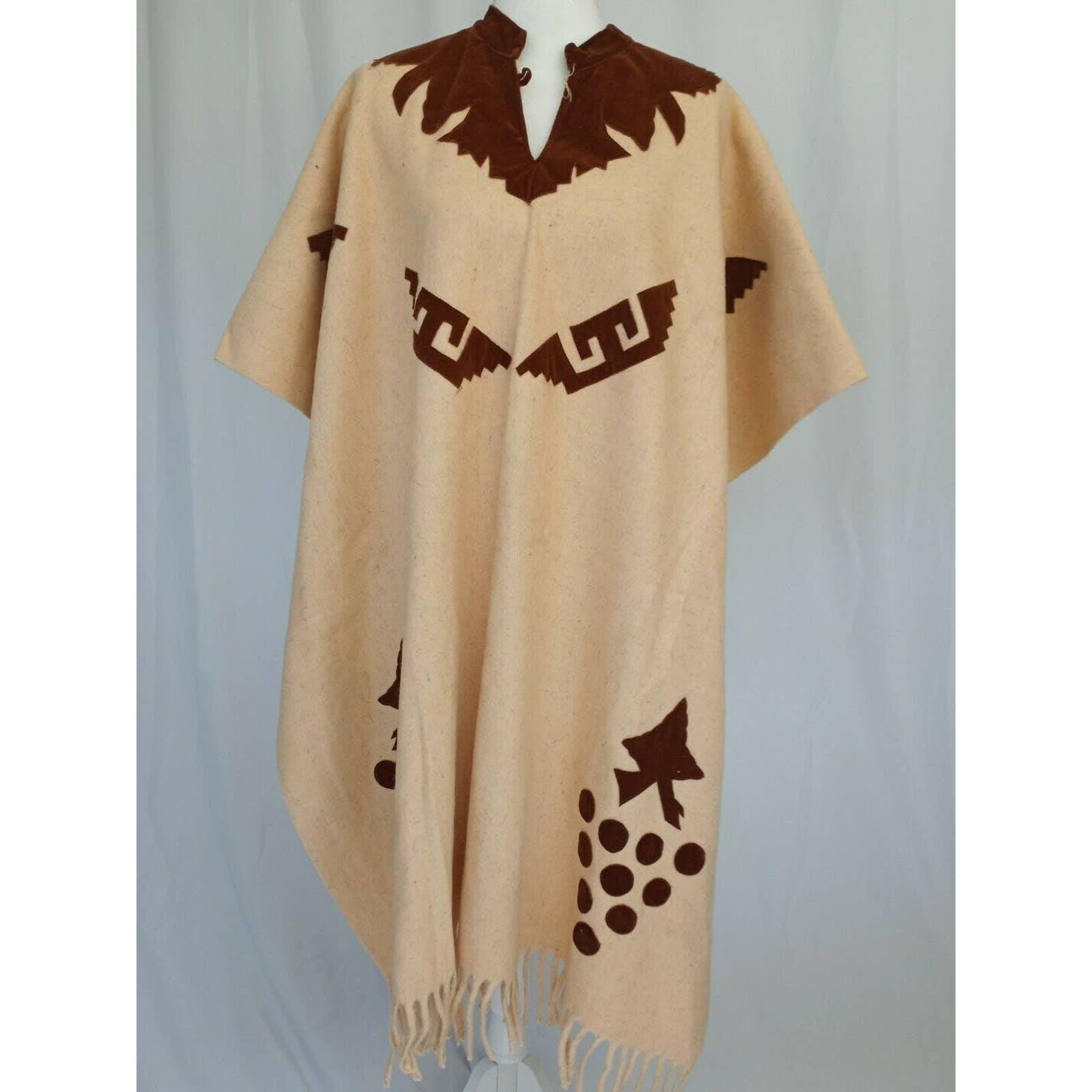 VTG Handmade Wool Velour Aztec Poncho