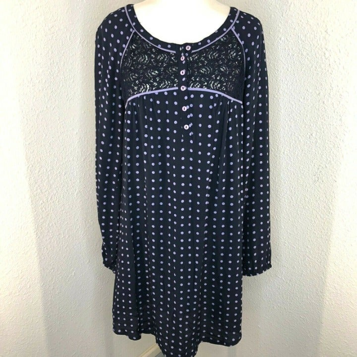 April Cornell Dotted Blue Dress Small