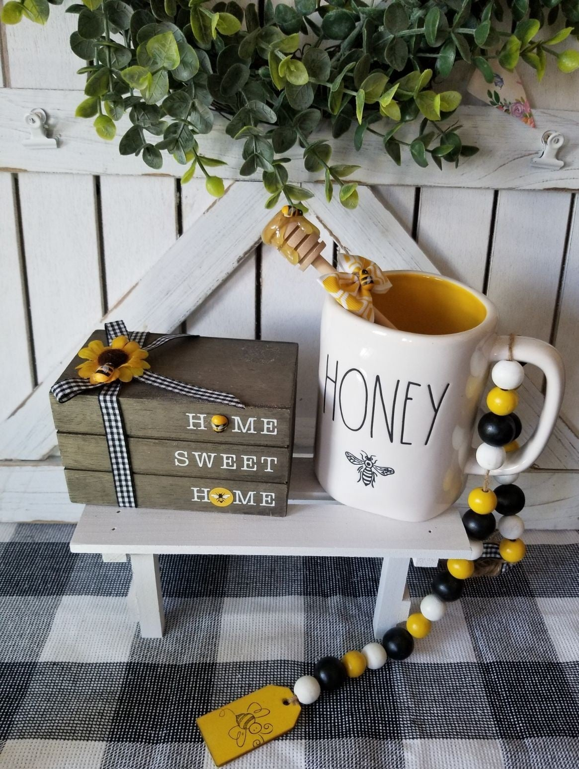 Farmhouse Bee home sweet home book stack